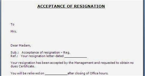 Sle Acceptance Letter Of Resignation Every Bit Of Resignation Acceptance Letter