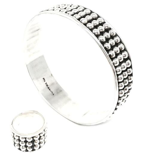 925 Sterling Silver Beaded Bangle mexico sterling beaded bangle bracelet and ring jewelry