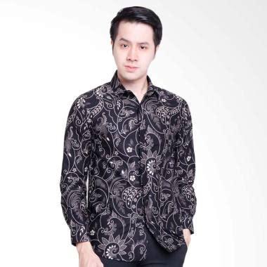 Kemeja Pria Cowok Ken Black Motof Batik jual jayashree rama slimfit sleeve kemeja batik pria black white harga