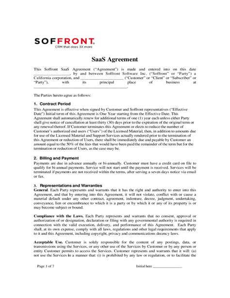Saas Agreement Soffront Software Free Download Saas Agreement Template