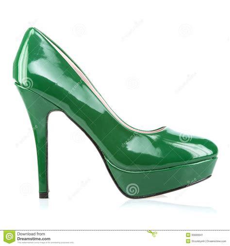 platform high heels shoes in green stock image