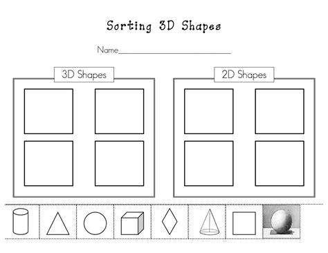 Sorting Shapes Worksheets For Kindergarten by Kinder Learning Garden Teaching 3d Shapes