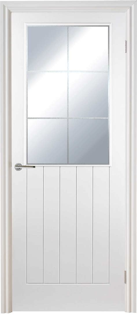 Interior White Glazed Doors Vertical 5 Glazed Textured White Primed Door