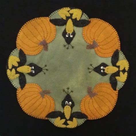 pattern wool felt those blasted crows wool applique candle mat pattern i