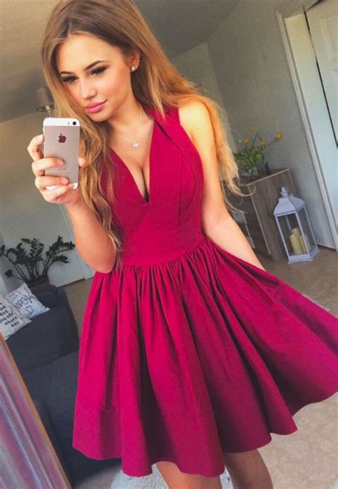 simple  neck red short prom dress cute homecoming dress