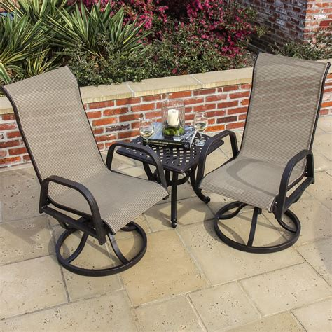 Patio Bistro Chairs Bistro Table Set Review Bay 2 Person Sling Patio Bistro Set With Cast Aluminum Table