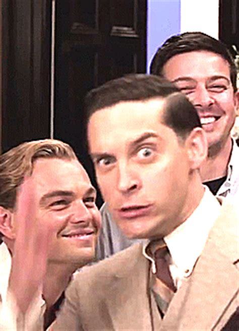tobey maguire lol gif find leonardo dicaprio with tobey maguire gif lol what s going
