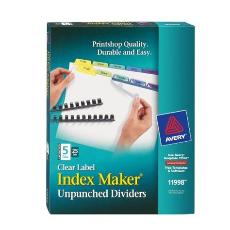 Index Maker Clear Label Dividers Easy Apply Label Strip Tab Sets 11998 Ebay Easy Apply Label Strips Template 5 Tab