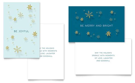 word greeting card template mac golden snowflakes greeting card template design