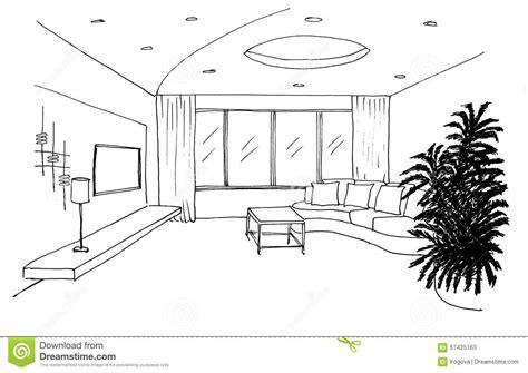 wohnzimmer zeichnen grafische skizze wohnzimmer stock abbildung bild 57425763
