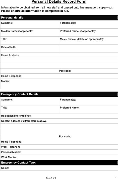 Employee Personal Details Form Template Modern Day Icon Sle Record Marevinho Personal Records Template