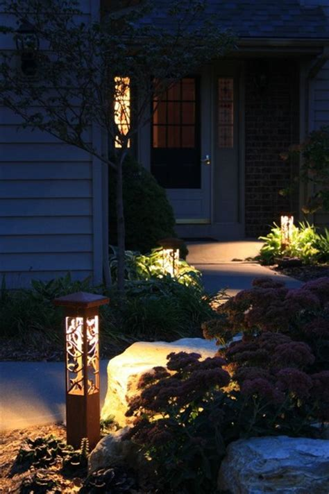 Decorative Landscape Lighting Decorative Steel Bollard Lights Contemporary Outdoor Lighting Indianapolis By Lite4