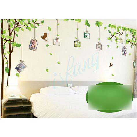 Reusable Wall Stickers tree green leaf bird repositionable reusable vinyl art