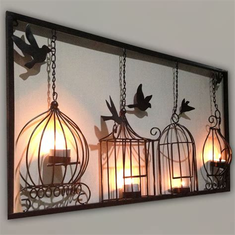 wall decor birdcage tea light wall metal wall hanging candle holder black 3d bird cage