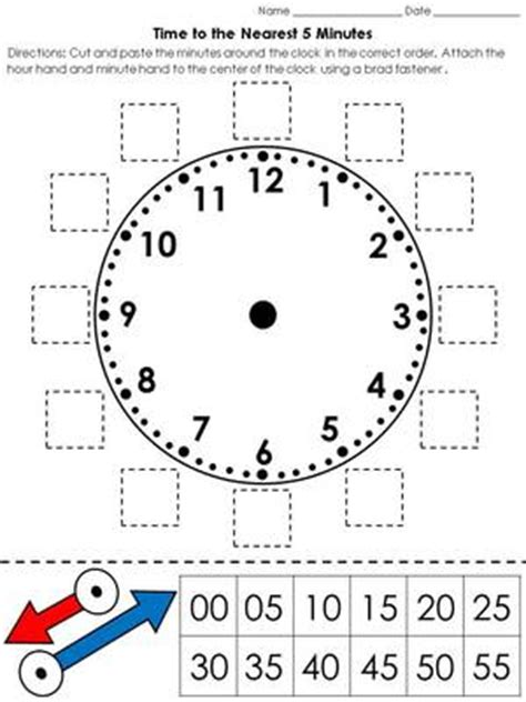 clock worksheets nearest 5 minutes time clock cut and paste activity telling time to the