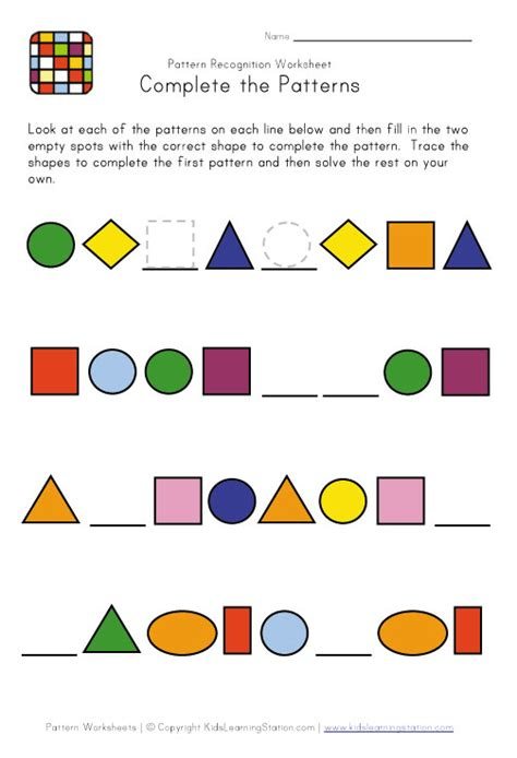 shape pattern video shapes patterns worksheets