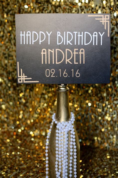 gender theme in the great gatsby 1920s custom happy birthday sign photobooth prop the o