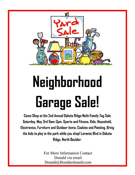 Garage Sale Flyer Template Word by Dakota Ridge Community Garage Sale May 3rd 2014