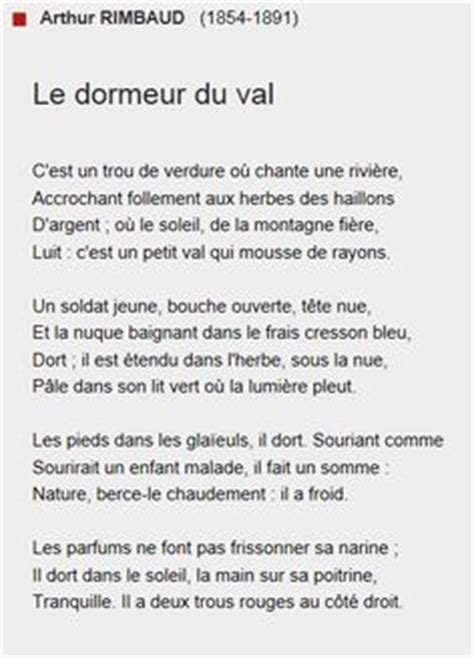 le dormeur du val paroles arthur rimbaud le dormeur du val poetry