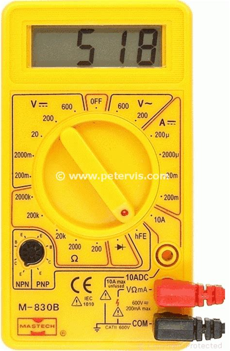 npn transistor testing using multimeter mastech m 830b transistor test