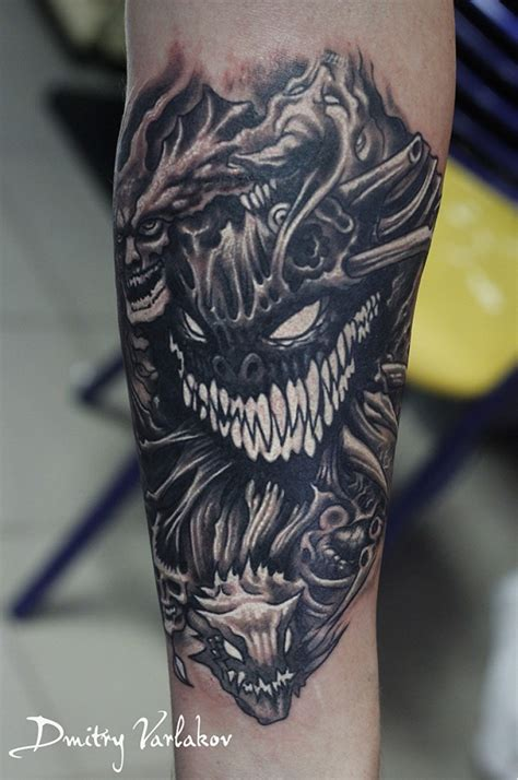 tattoo cartoon monster cartoon style colored forearm tattoo of evil monsters