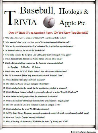 baseball trivia is a good challenge for your baseball