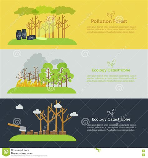 banner design for nature nature issue deforestation fire tree and pollution banner