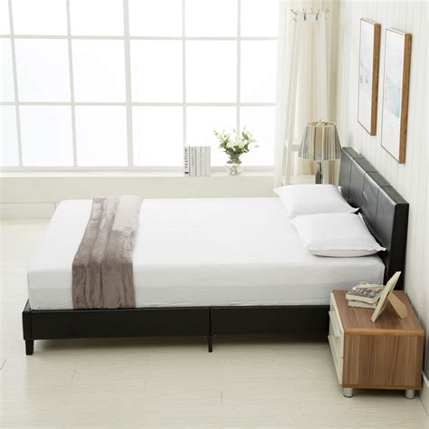 queen size platform bed frame faux leather slats