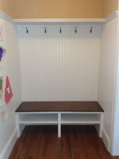 beadboard bench mudroom entry shelf built in seat beadboard wainscot walls entry boston by
