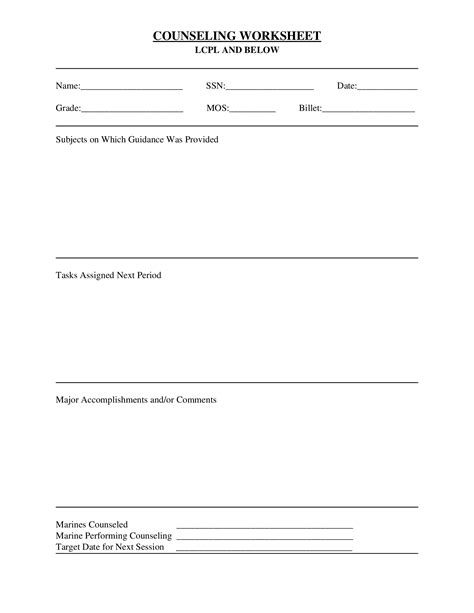 Usmc Counseling Sheet Template by Worksheets Marine Counseling Worksheet Atidentity