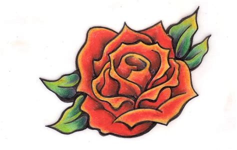 orange rose tattoos simple orange design