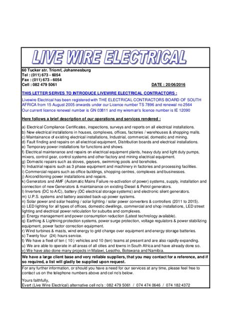 Electrical Business Introduction Letter letter of introduction of livewire electrical contractors