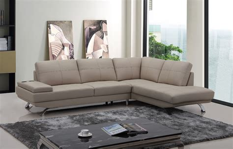 divani casa modern beige leather sectional sofa
