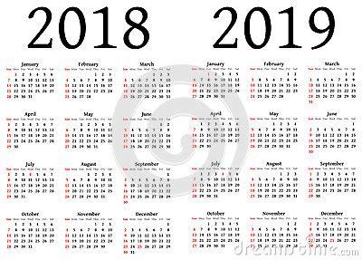 Calend Brasileiro 2018 Calend 225 Para 2018 E 2019 Ilustra 231 227 O Stock Imagem