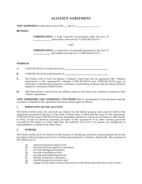 alliance agreement template alliance agreement template 28 images alliance