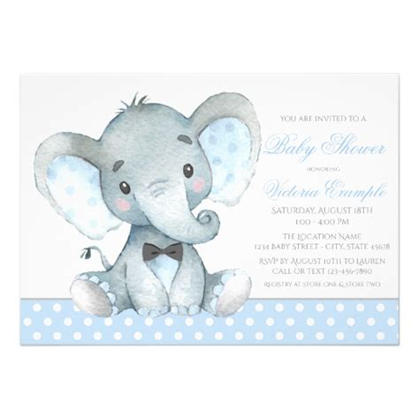 Baby Shower Invitations Elephant by Elephant Baby Boy Shower Invitations Zazzle