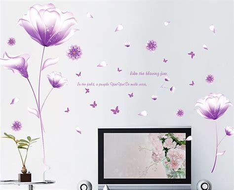 purple flower wallpaper for living room aliexpress buy purple flower diy wall stickers living room tv sofa