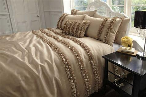 Set Taffeta Bordir lille ruffled faux silk duvet cover set from century textiles