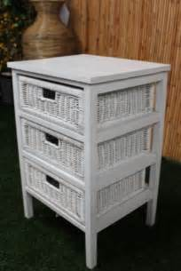 white 3 drawer with wicker outdoor