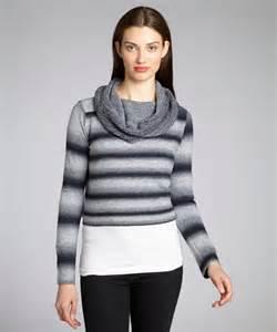 Bb dakota women s grey stripe cropped cowl neck sweater fabwstyle