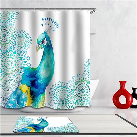 peacock shower curtain hooks 3d curtains beautiful peacock bird feathers shower curtain