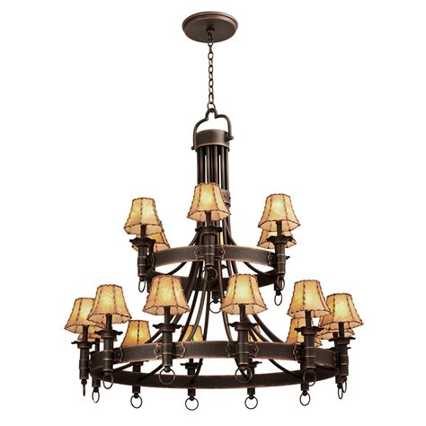 two tier l shade americana two tier chandelier 18 light