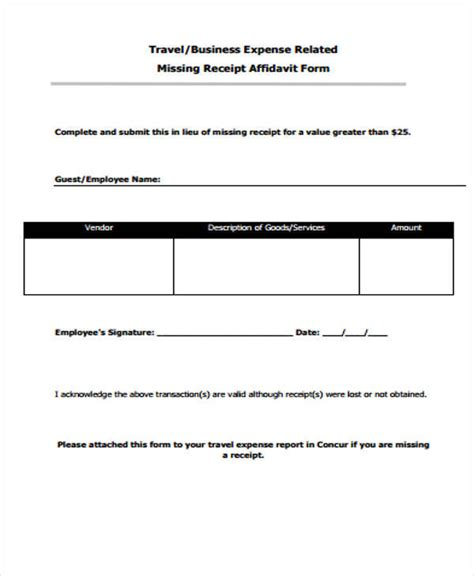 missing receipt form template 40 sle receipt forms