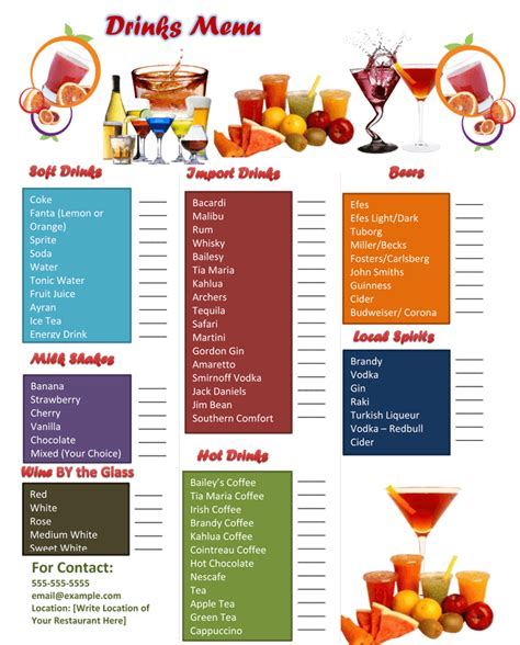 free bar menu templates 5 plus attractive drink menu templates for your bar business