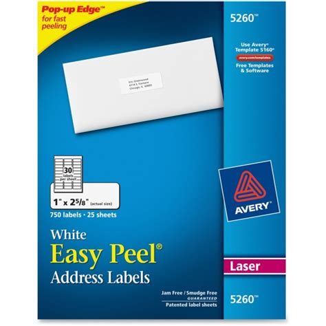 Avery 5260 Easy Peel White Laser Mailing Labels Permanent Adhesive 1 Quot Width X 2 5 8 Quot Length Avery Templates 5260