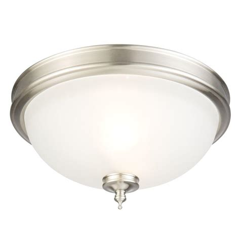 A Guide To Where Nickel Ceiling Lights Best Match Warisan Lighting Hton Bay Regency 2 Light Brushed Nickel Fluorescent Ceiling Flushmount Hbf1230p 35 The Home