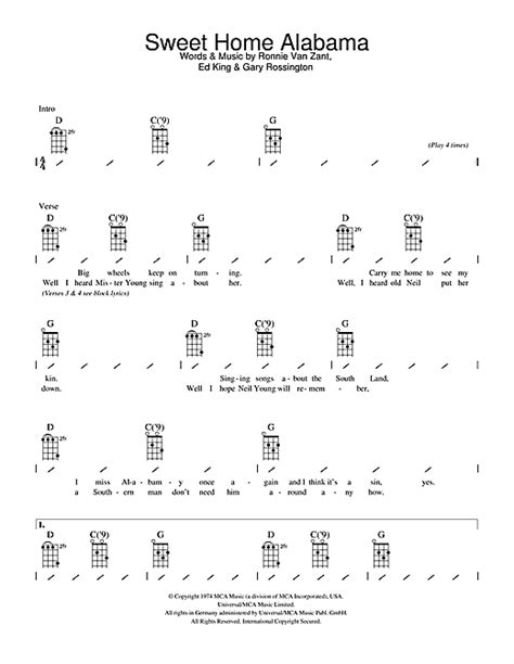 strumming pattern call you home sweet home alabama sheet music by lynyrd skynyrd ukulele