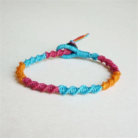 Spiral Macrame Friendship Bracelet In Mix Of Magenta Pink,Orange,Blue   Gift For Her   Gift
