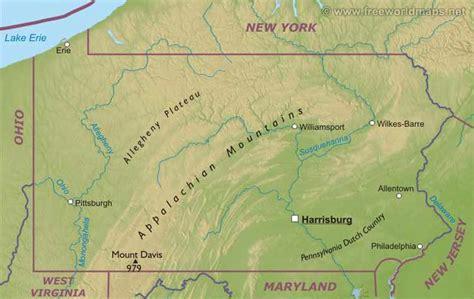 pennsylvania physical map pennsylvania liberapedia