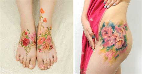 watercolor tattoos dark skin flower tattoos mimic watercolor paintings on skin bored